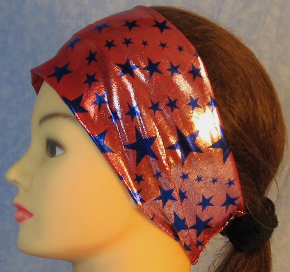 Headband-Blue Stars on Red with Silver Specks-left