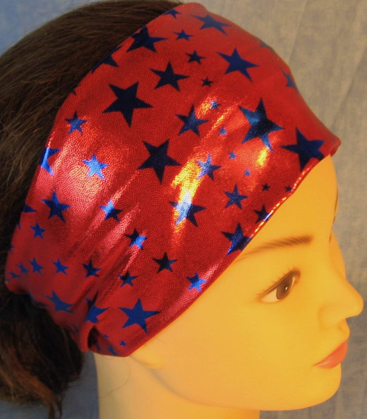 Headband-Blue Stars on Red with Silver Specks-right top