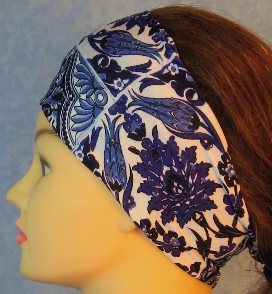Headband-Blue White Flower Tiles-left
