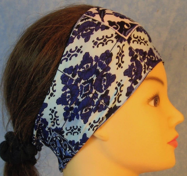 Headband-Blue White Flower Tiles-right