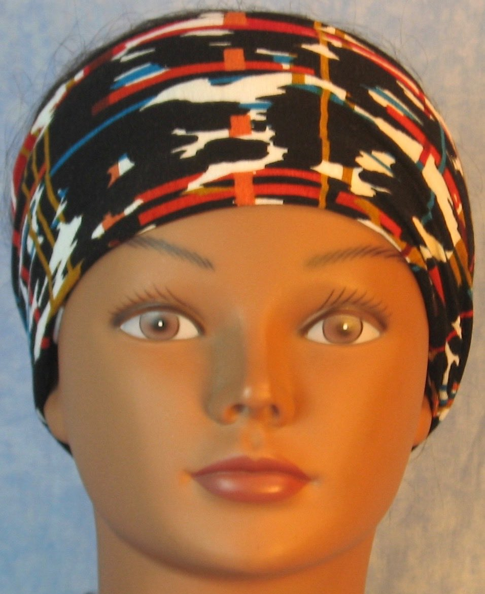 Headband-Brown Red Turquoise Marks Lines-front