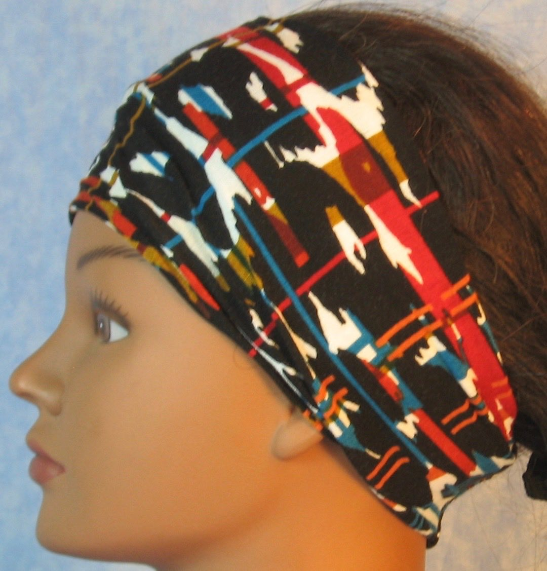 Headband-Brown Red Turquoise Marks Lines-left