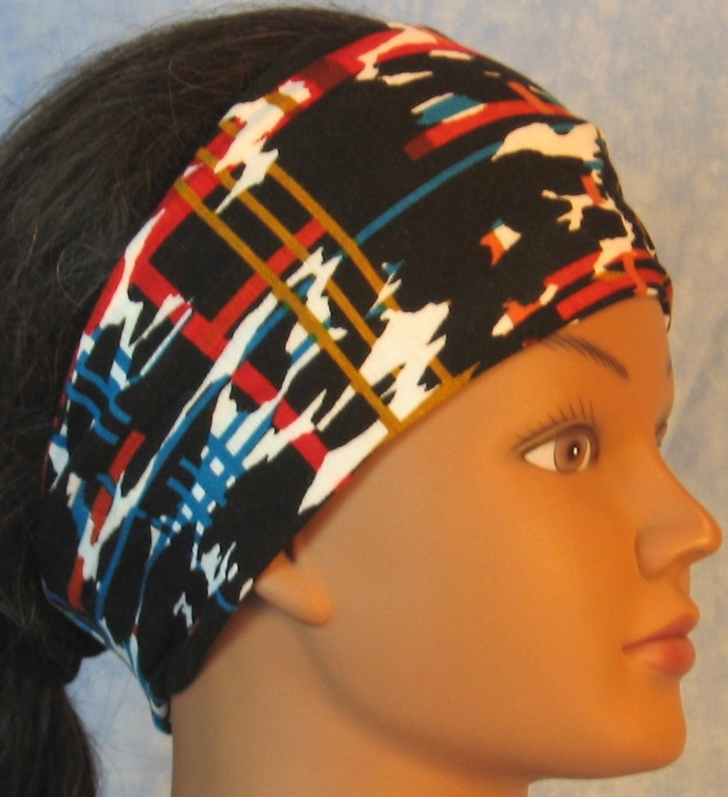 Headband-Brown Red Turquoise Marks Lines Performance Knit-Adult S