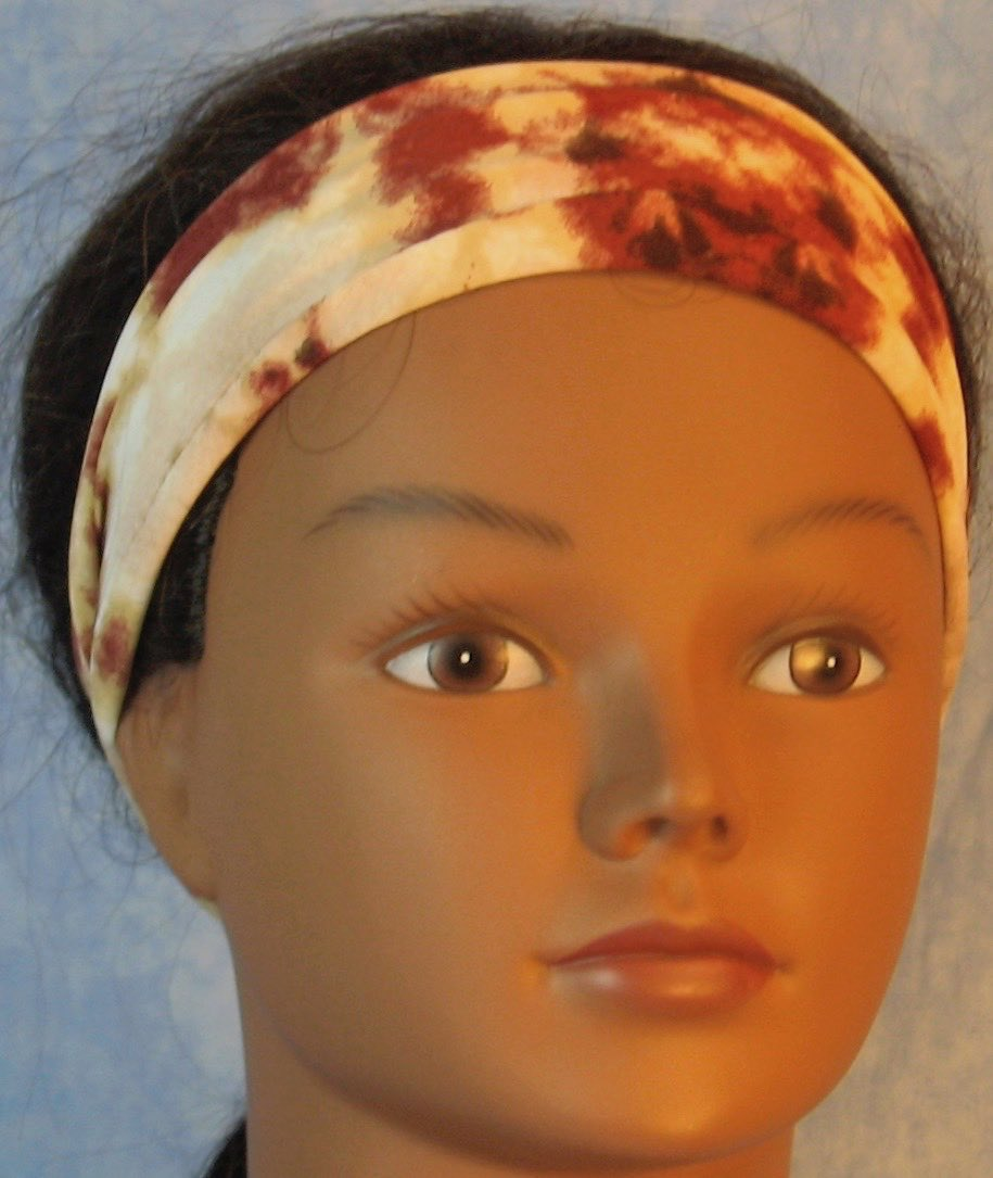 Headband-Brown Tan Cream Drop Dye Performance Knit-Adult S