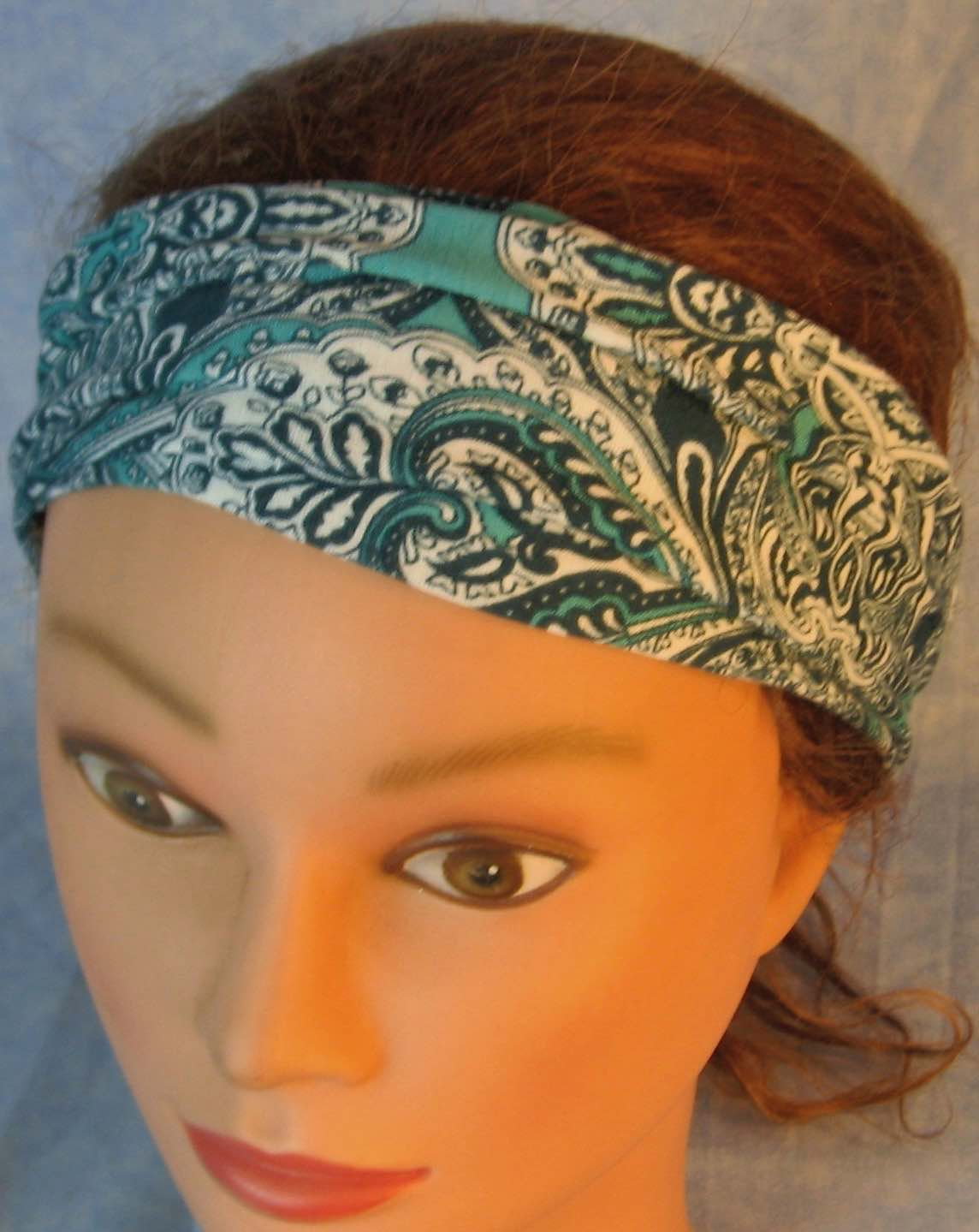 Headband-Green White Paisley Doily-folded front top