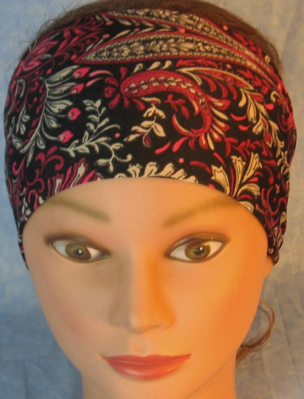 Headband-Pink Flower Paisley Leaves On Black Performance Knit-Adult S