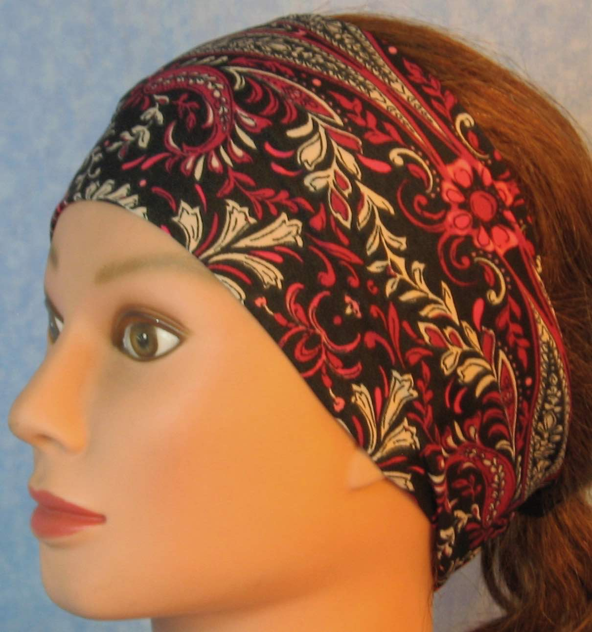 Headband-Pink Flower Paisley Leaves on Black-left