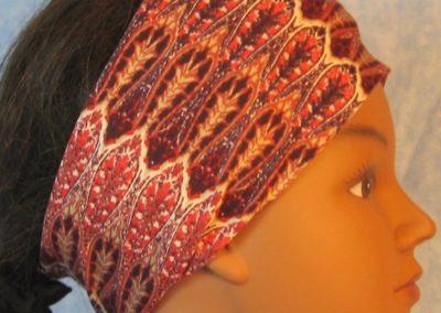Headband in Red Purple Brown Drops Stripe-right