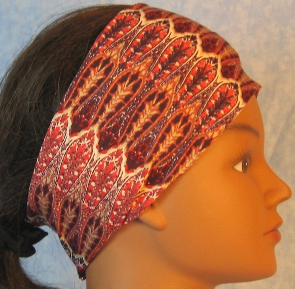 Headband-Red Purple Brown Drops Stripe-right