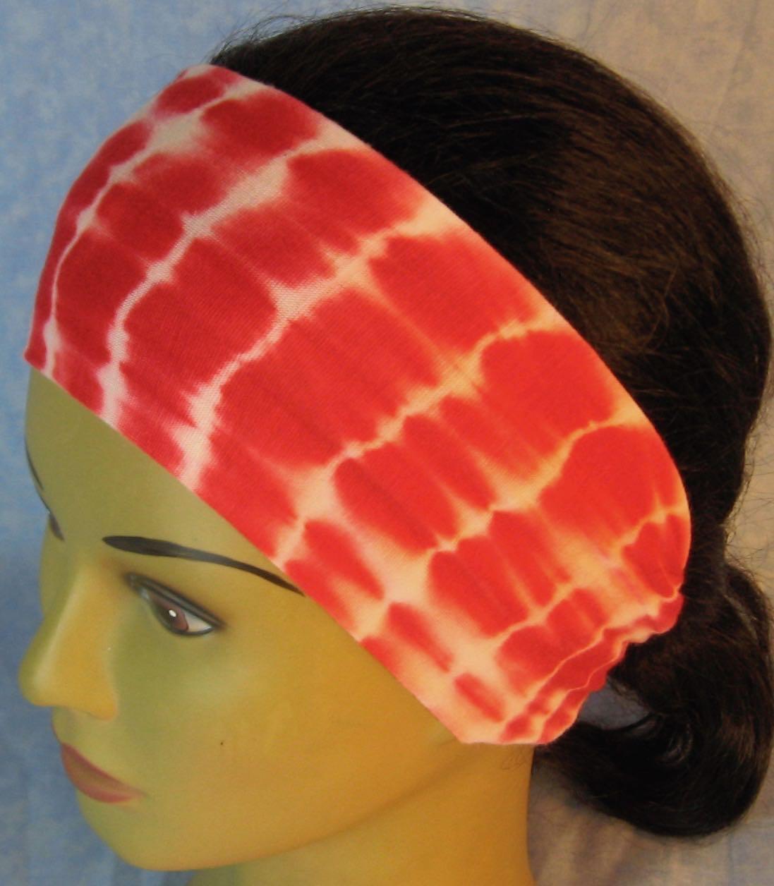 Headband-Red Tie Dye on White-left top