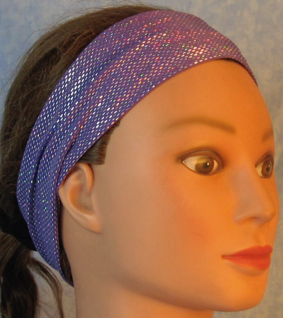 Headband-Silver Dashes on Violet Purple Performance Knit-Adult M