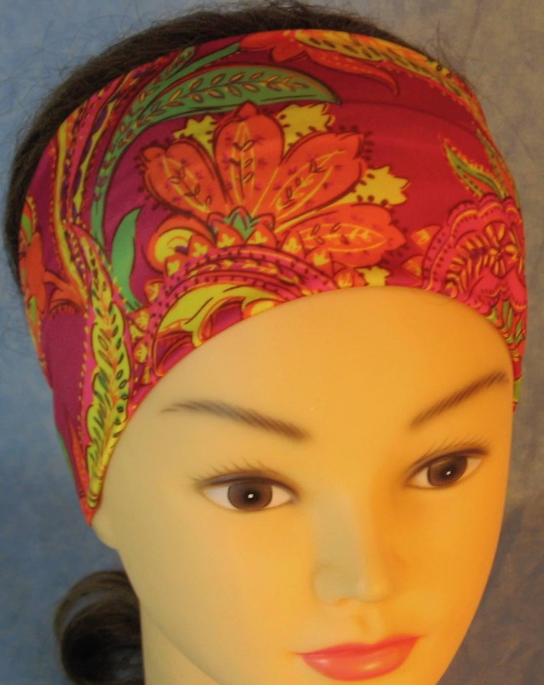 Headband-Yellow Orange Green Paisley on Pink-front top