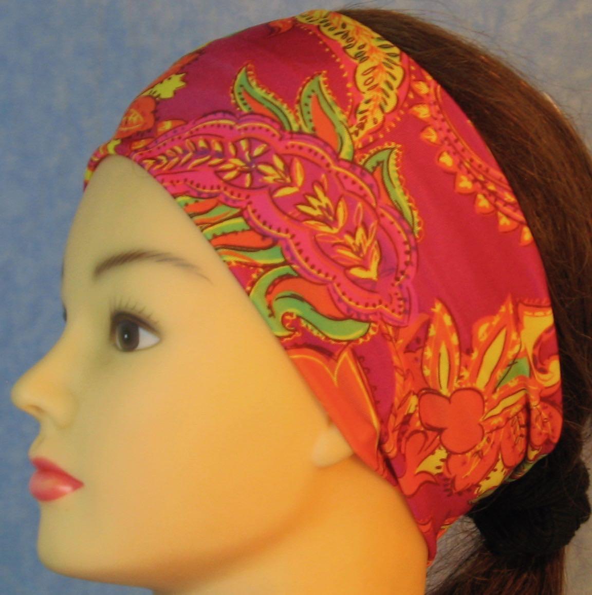Headband-Yellow Orange Green Paisley on Pink-left
