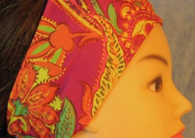 Headband in Yellow Orange Green Paisley on Pink-right
