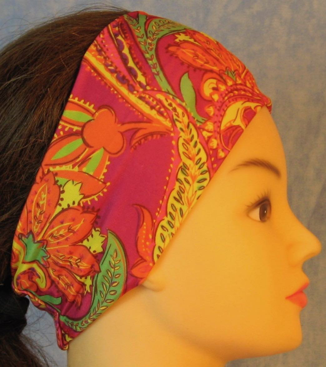 Headband-Yellow Orange Green Paisley on Pink Performance Knit-Youth L-XL