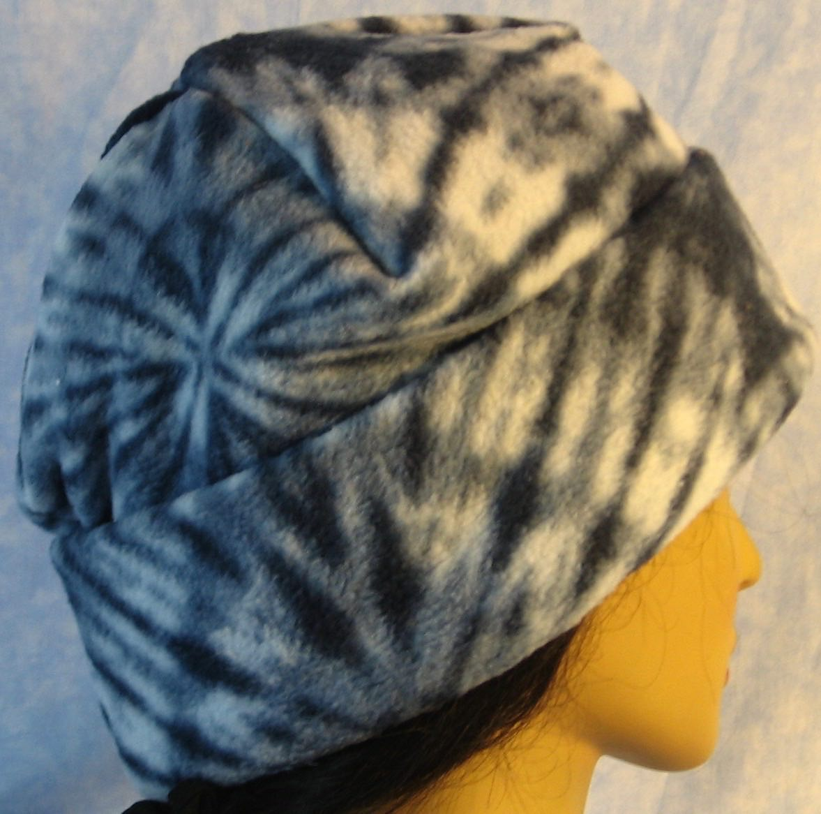 Long Hat in Blue Tie Dye-Adult L