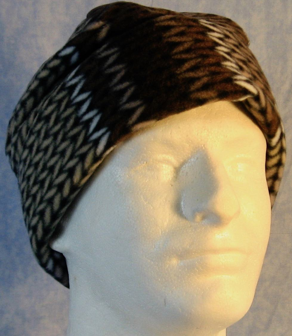 Long Hat in Brown White Knit on Black-Adult L
