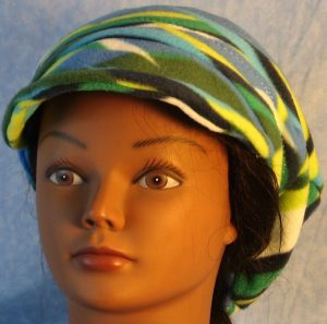 Newsboy in Blue Green White Wave-back drape front