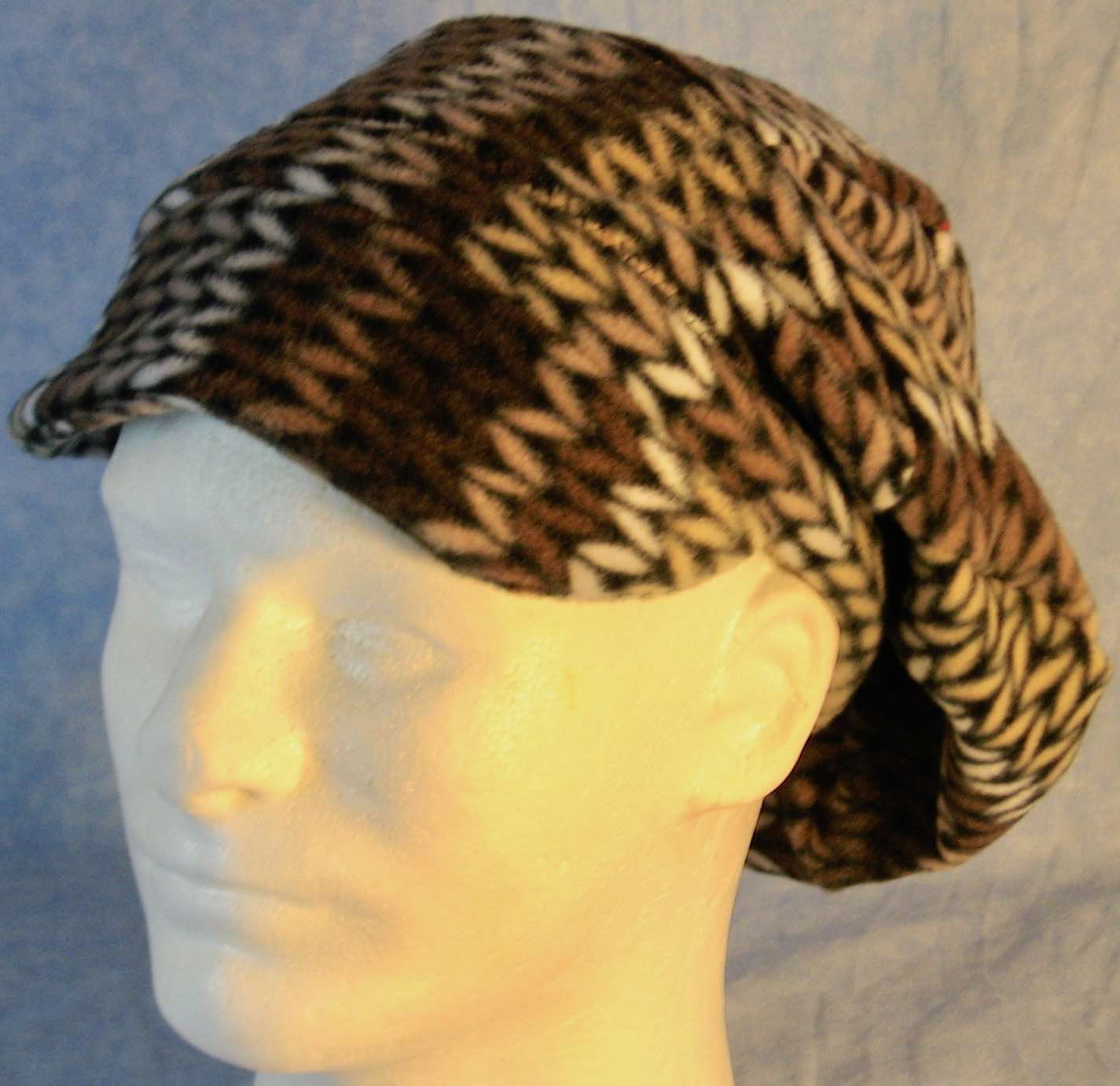 Newsboy Hat in Brown White Knit on Black-Adult L