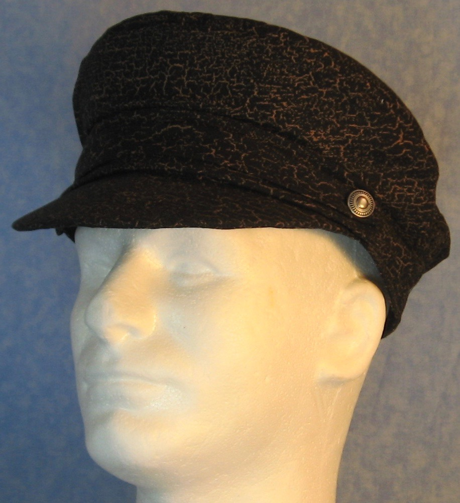 Captain Cap in Black with Brown Marble - Adult S-L