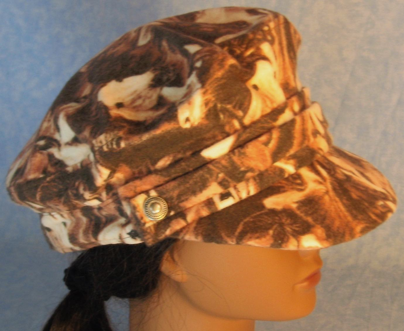 Fisherman Cap in Brown Horses Flannel - Adult S-L