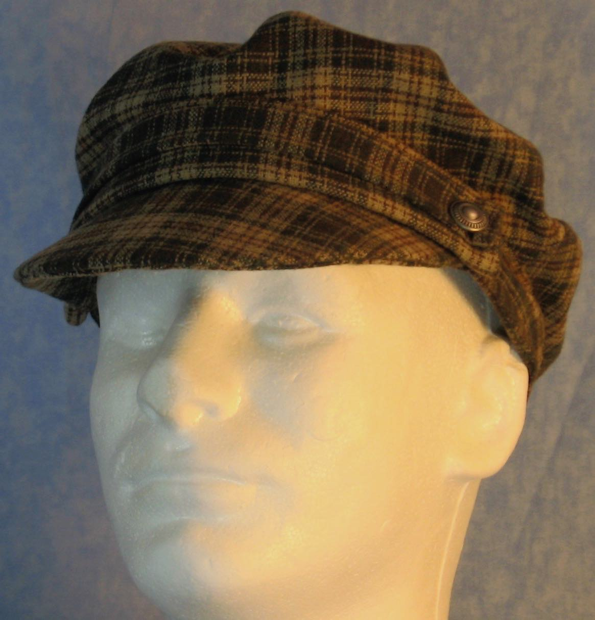 Fisherman Fiddler-Cream Green Brown Plaid Wool-front left