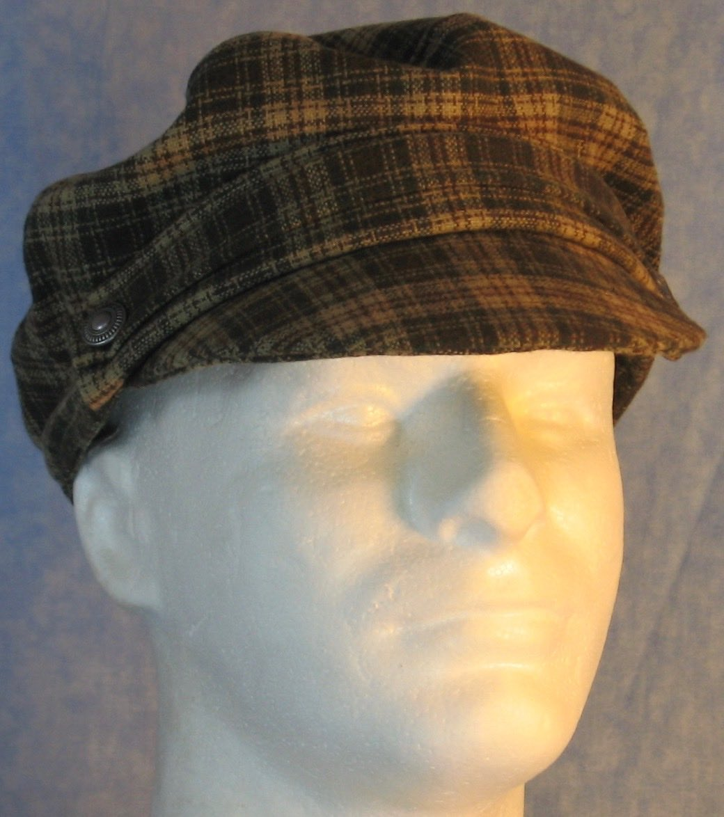 Fisherman Fiddler-Cream Green Brown Plaid Wool-front