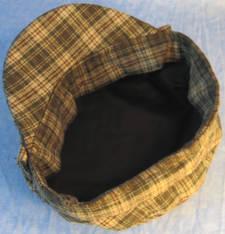 Fisherman Fiddler-Cream Green Brown Plaid Wool-inside