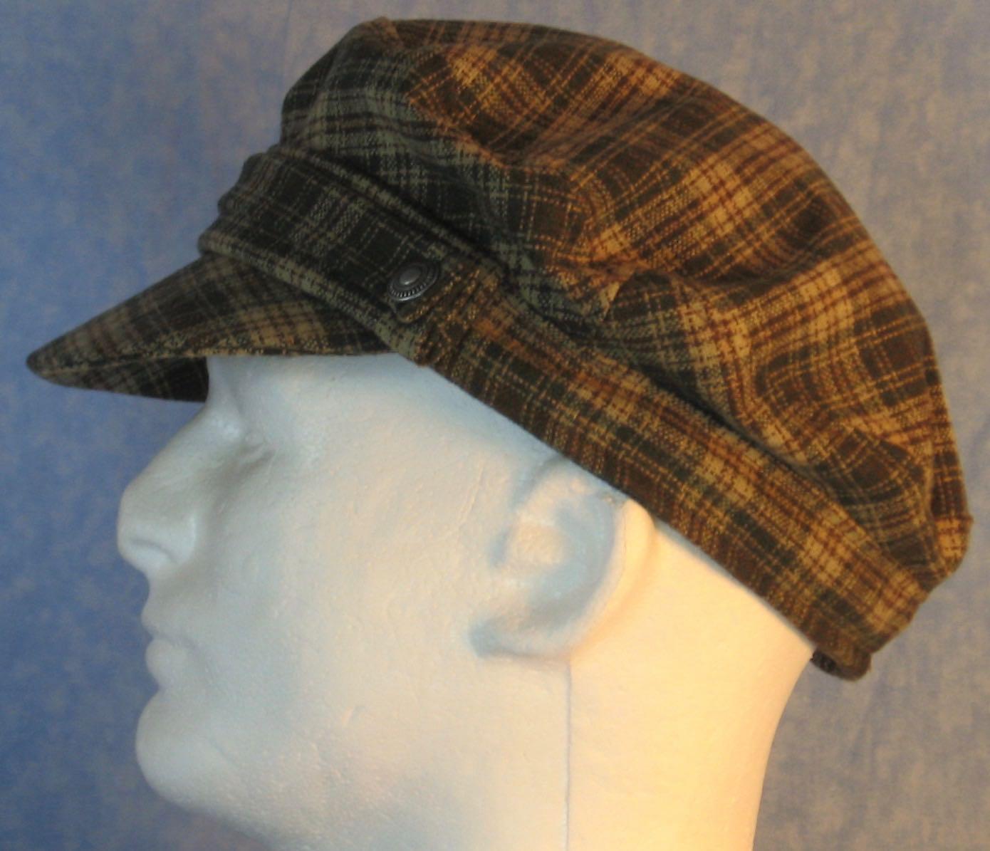 Fisherman Fiddler-Cream Green Brown Plaid Wool-left