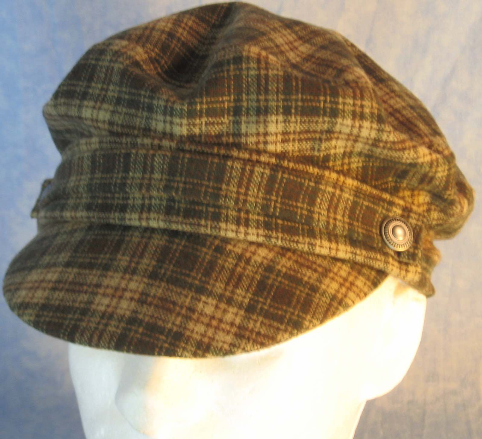 Fisherman Cap in Cream Green Brown Plaid Wool - Adult S-L