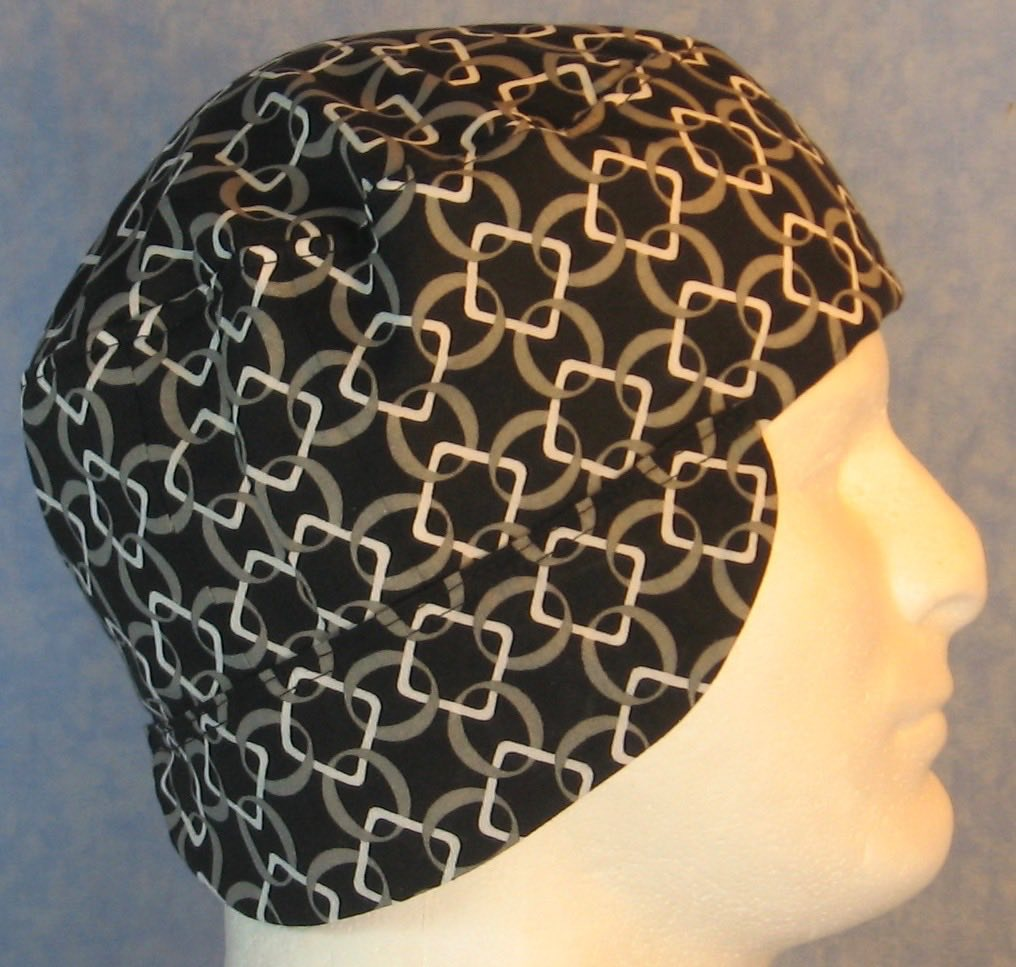 Welding Cap-White Squares Interlocked Gray Circles on Black-Adult L