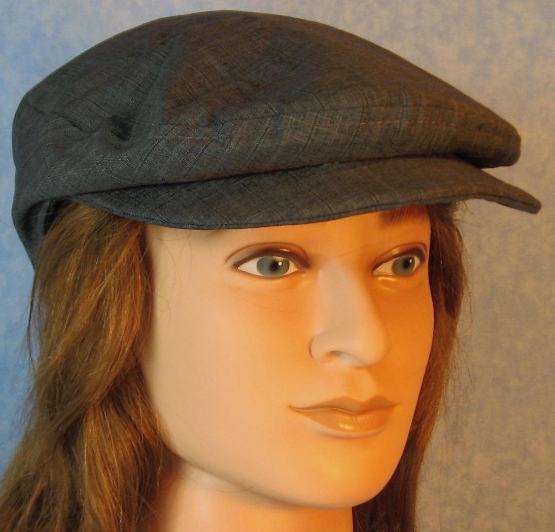 Flat Cap in Blue Stripe Suiting - Adult M-XL