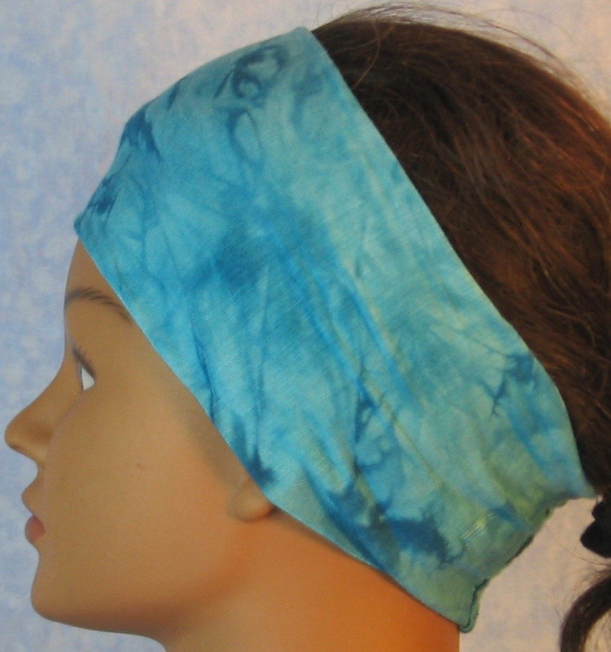 Headband-Aqua Blue Tie Dye Smoky Knit-Adult M