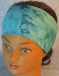 Headband-Aqua Blue Tie Dye Smoky-top