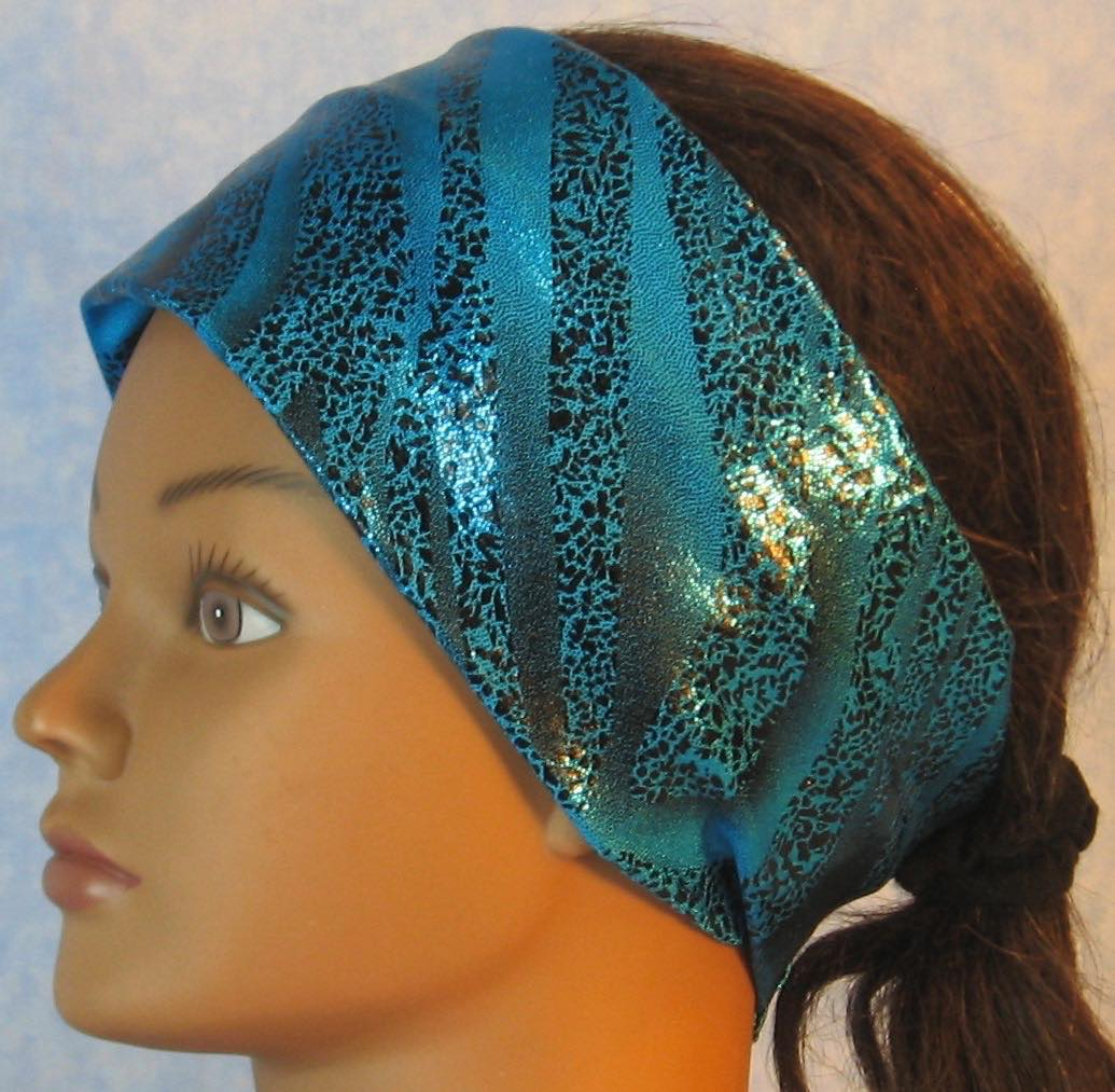 Headband-Black Dotted Waves on Blue Performance Knit-Adult M