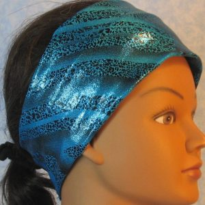 Headband-Black Dotted Waves on Blue-right