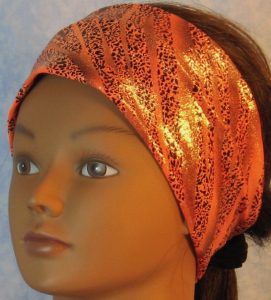 Headband-Black Dotted Waves on Orange-front