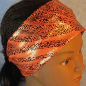 Headband-Black Dotted Waves on Orange-top