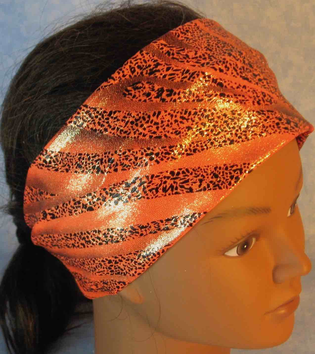 Headband-Black Dotted Waves on Orange Performance Knit-Adult M
