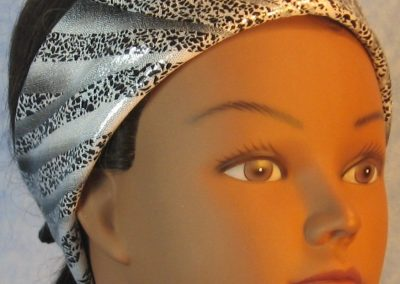 Headband-Black Dotted Waves on Silver-folded front