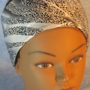 Headband-Black Dotted Waves on Silver-top