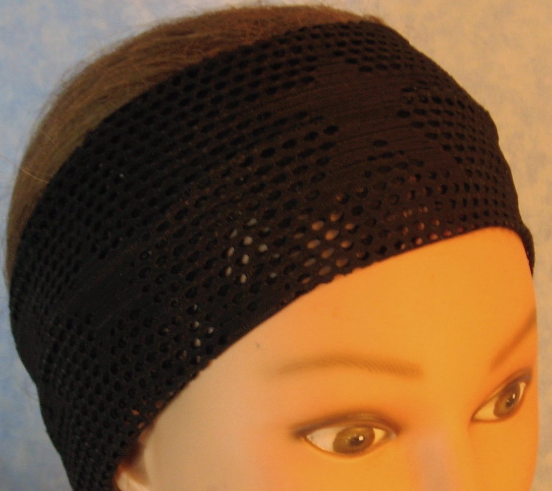 Headband-Black Fishnet with Stars Knit-Adult M