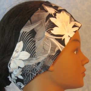 Headband-Black White Gray Orchid Flowers-right