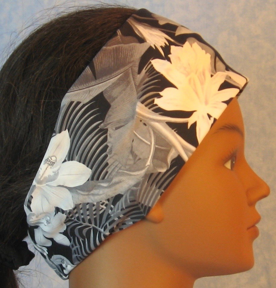 Headband-Black White Gray Orchid Flowers Performance Knit-Adult S