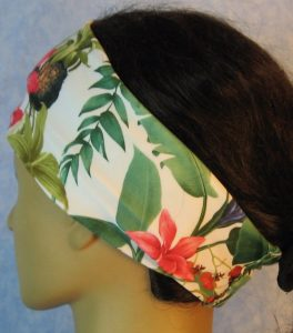 Headband-Pink Orange Blue Orchid Flowers-left