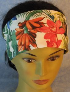 Headband-Pink Orange Blue Orchid Flowers-top