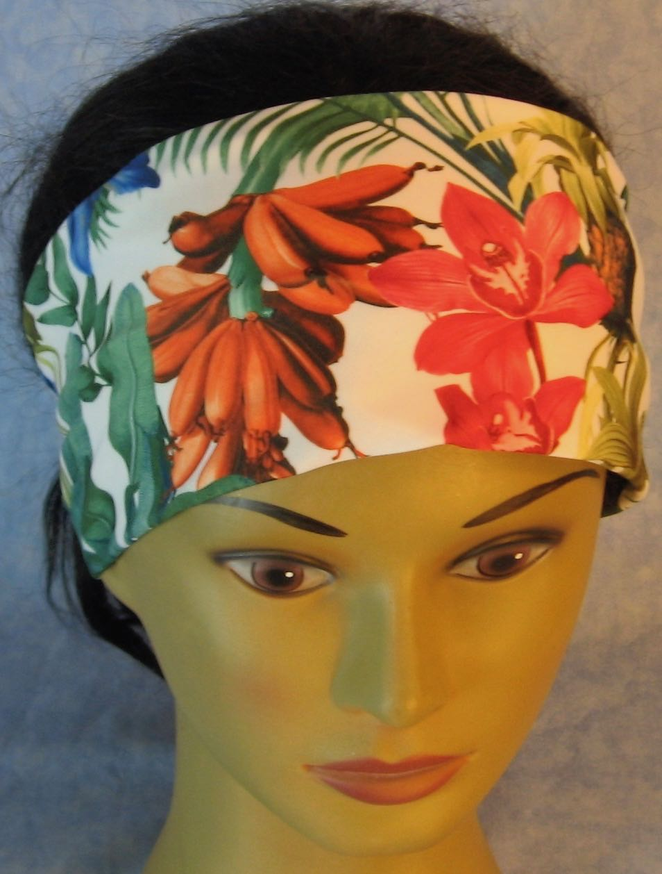 Headband-Pink Orange Blue Orchid Flowers Performance Knit-Adult M