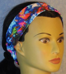 Headband-Blue Pink Yellow Shattered Glass-front folded