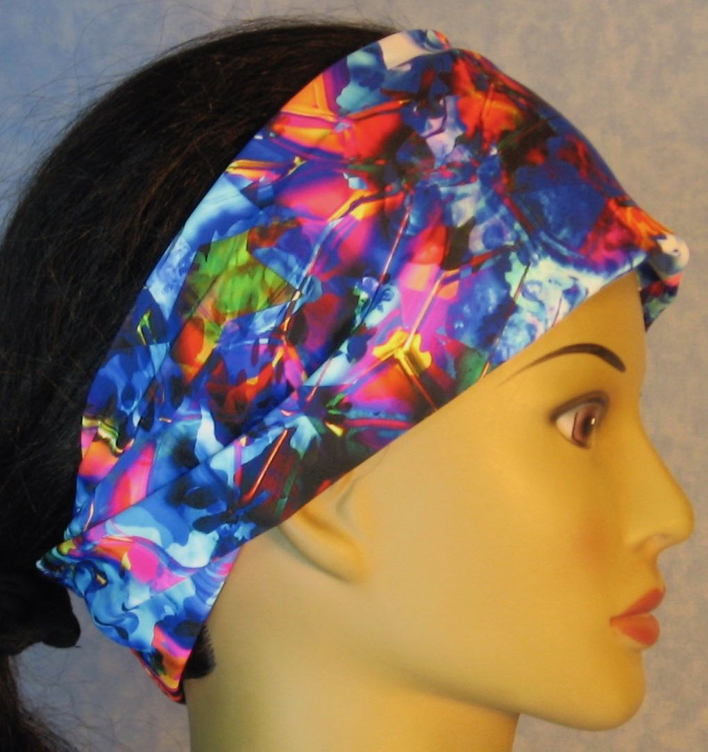 Headband-Blue Pink Yellow Shattered Glass Performance Knit-Adult M