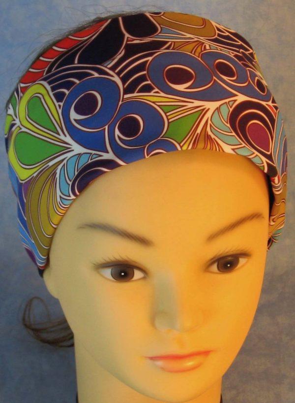 Headband-Blue Scrolls Fans Circles-top